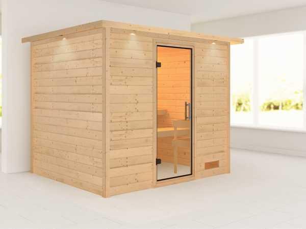 Sauna Massivholzsauna Karla mit Dachkranz, Klarglas Ganzglastür
