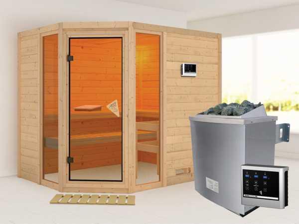 Sauna Massivholzsauna SPARSET Conch inkl. 9 kW Saunaofen mit ext. Steuerung, bronz. Glastür