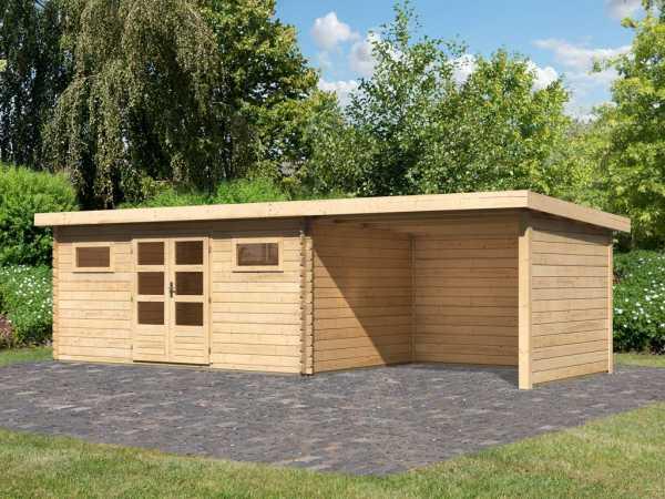 Gartenhaus Blockbohlenhaus SET Bastrup 10 28 mm naturbelassen, inkl. 3 m Anbaudach +Seiten-/Rückwand