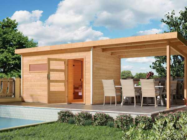 Saunahaus Skrollan 3 mit Klarglastür & Vorraum, inkl. 9 kW Saunaofen mit integrierter Steuerung