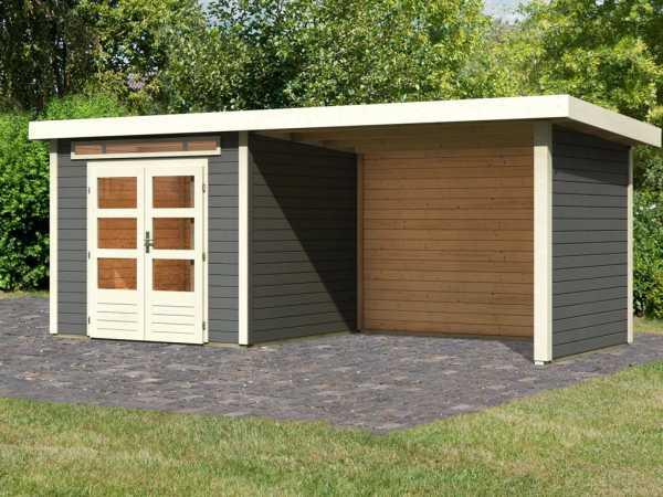 Gartenhaus SET Kandern 3 28 mm terragrau, inkl. 3,2 m Anbaudach + Seiten- und Rückwand
