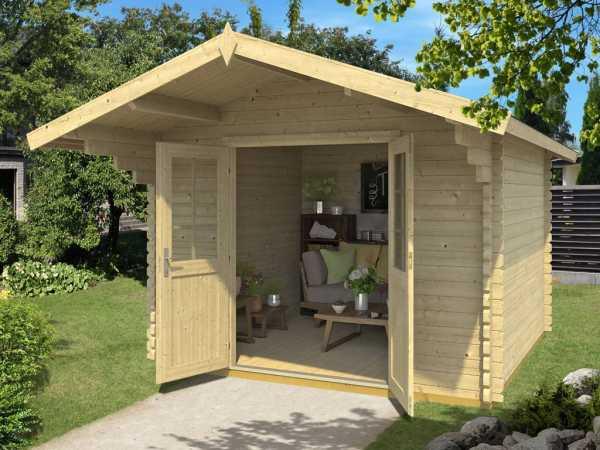 "Gartenhaus Blockbohlenhaus ""Gotland 1D UK""44 mm naturbelassen"