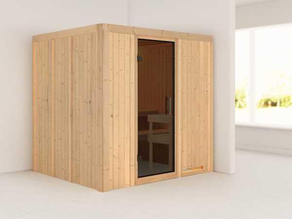 Sauna Systemsauna Daria graphit Ganzglastür