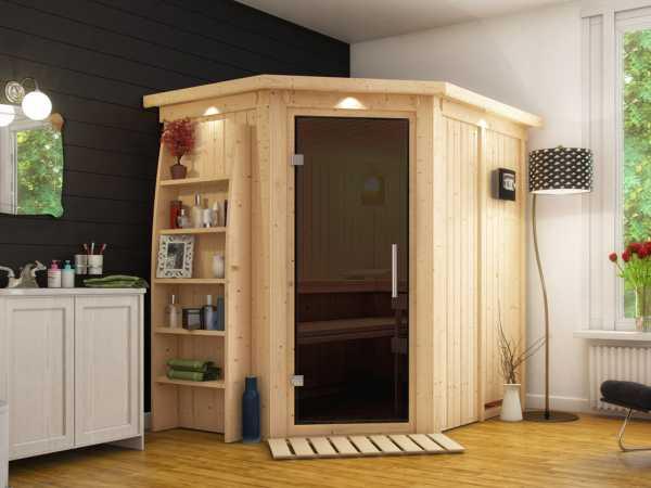 Sauna Systemsauna Saja mit Dachkranz, graphit Ganzglastür + Plug & Play Bio-Ofen mit ext. Strg.