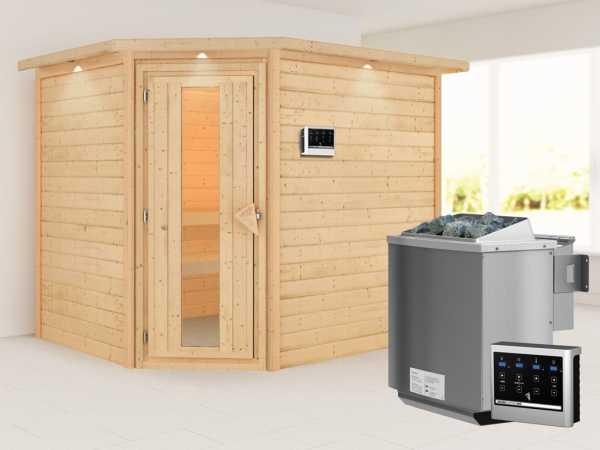 """Sauna """"Lisa"""" mit Energiespartür und Dachkranz + 9 kW Bio-Kombiofen mit ext. Strg."""