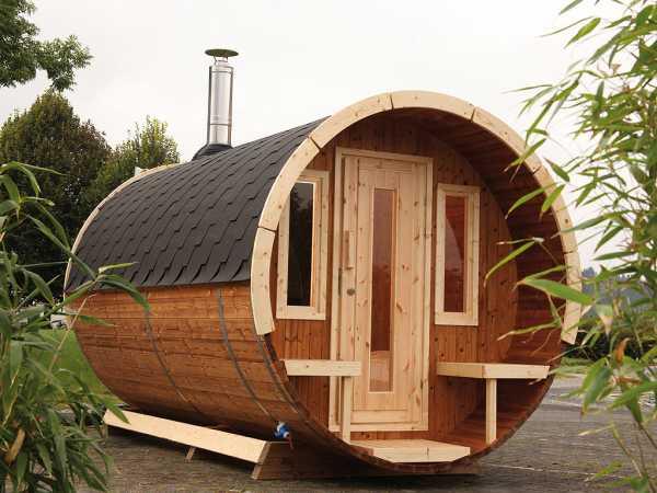 """Saunafass """"330 de luxe"""" 42 mm naturbelassen, als Bausatz, inkl. Dachschindeln schwarz"""