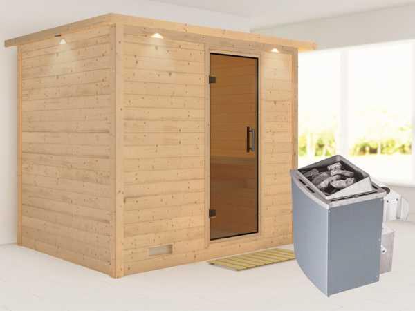 """Massivholzsauna """"Sonara"""" mit Dachkranz, graphit Ganzglastür, inkl. 9 kW Saunaofen integr. Steuerung"""