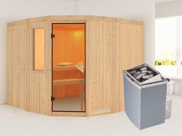 Sauna Systemsauna Simara 3 mit Fenster, inkl. 9 kW Saunaofen integr. Steuerung