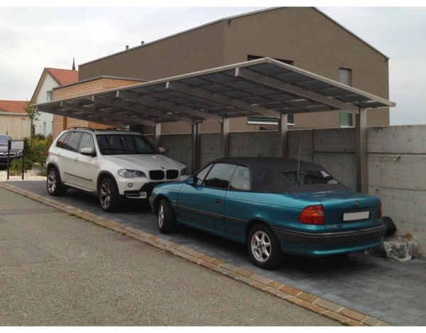 Carport Linea Typ 170 Tandem Edelstahl-Look