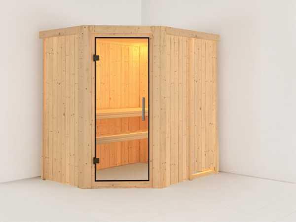 Sauna Systemsauna Saja Klarglas Ganzglastür