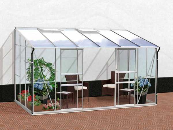 Gewächshaus Ida 7800 HKP 4 mm 7,8 m², Aluminium-blank eloxiert