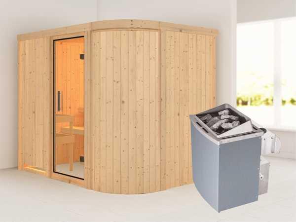 Sauna Systemsauna Titania 4 Klarglas Ganzglastür + 9 kW Saunaofen mit Steuerung