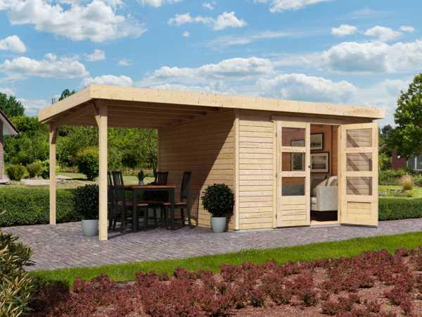 gartenhaus sparset askola 4 19 mm naturbelassen inkl schleppdach 761051. Black Bedroom Furniture Sets. Home Design Ideas