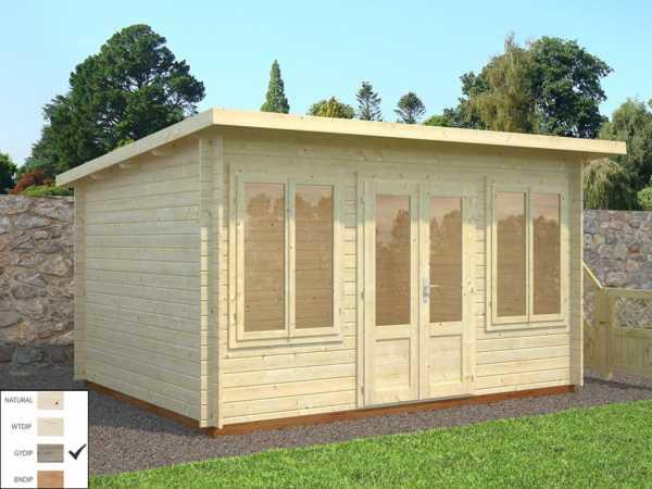 Gartenhaus Blockbohlenhaus Lisa 11,5 m² 34 mm grau tauchimprägniert