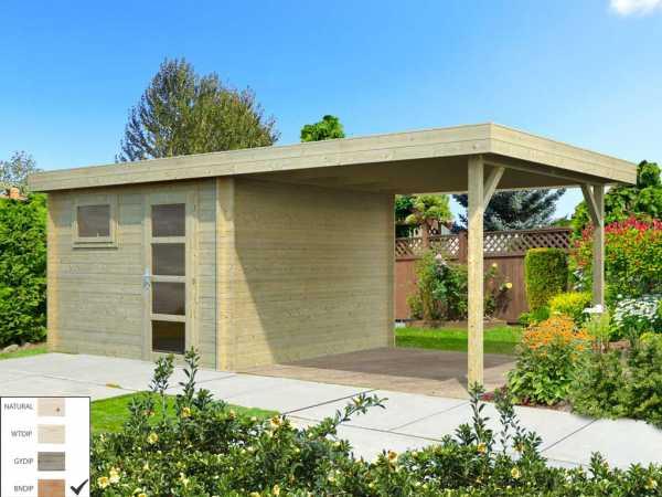 "Gartenhaus Blockbohlenhaus ""Elsa"" 8,7+8,1 m² 28 mm braun tauchimprägniert"
