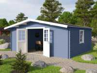 Gartenhaus Blockbohlenhaus Erna 2 40 mm taubenblau