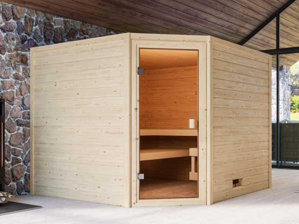 """Sauna """"Dalia"""" mit bronzierter Glastür + 9 kW Saunaofen integr. Strg."""