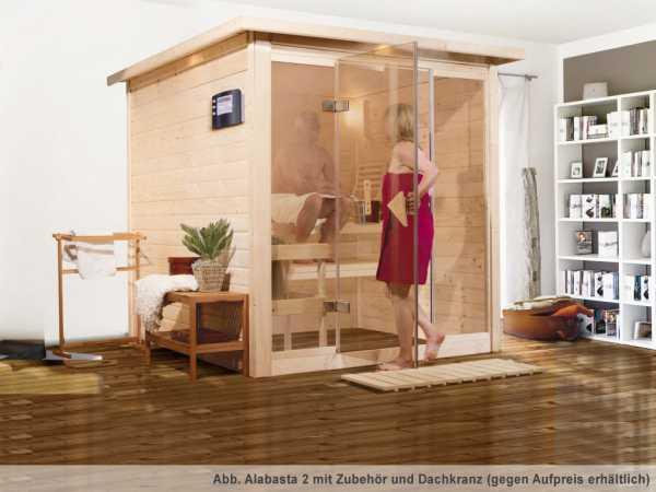 """Sauna Massivholzsauna """"Alabasta 2"""" SPARSET 2 inkl. 9 kW Bio-Ofen mit ext. Steuerung + Saunaleuchte"""