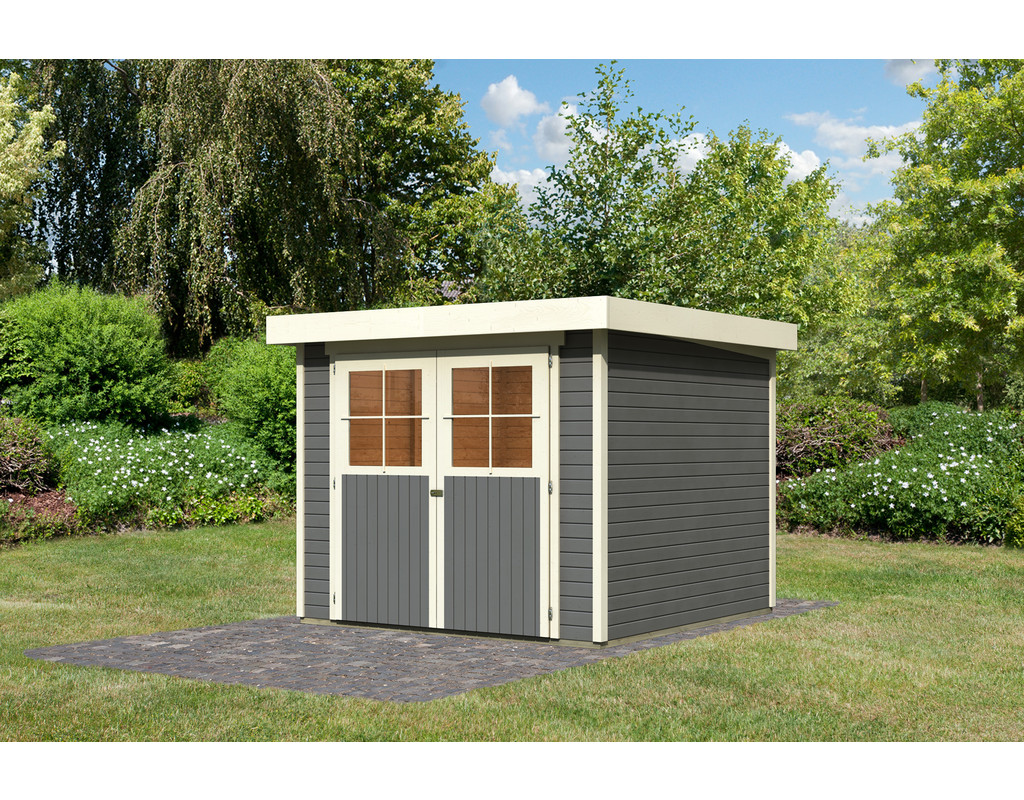 gartenhaus ger tehaus limburg 5 eco 19 mm terragrau ka2877. Black Bedroom Furniture Sets. Home Design Ideas