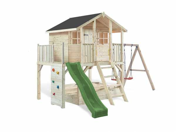 Stelzenhaus SPARSET Tobi Premium naturbelassen inkl. Doppelschaukel & Rutsche grün