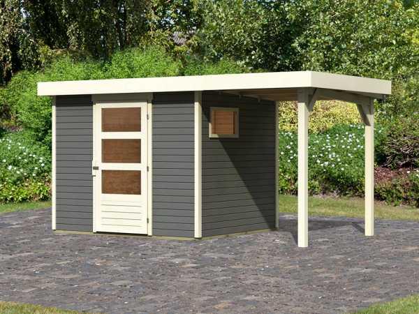 Gartenhaus SET Oburg 3 19 mm terragrau, inkl. 1,5 m Anbaudach