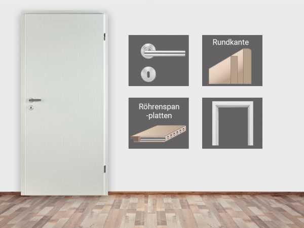 Türenset CPL Esche Weiß mit Röhrenspanplatte - Türblatt, Zarge, Drückergarnitur