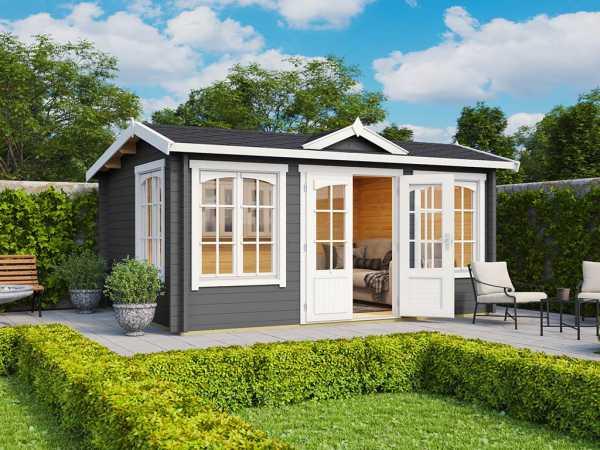 Gartenhaus Blockbohlenhaus Windsor 44 44 mm carbongrau