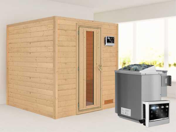 """Sauna Massivholzsauna """"Nora"""" Energiespartür + 9 kW Bio-Kombiofen mit ext. Strg"""