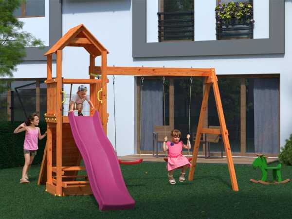 "Spielturm Sparset ""Flatti"" teakfarben, inkl. 2,28 m Rutsche violett"