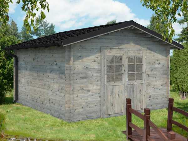 "Gartenhaus Blockbohlenhaus ""Tina"" 13,5 m² 34 mm grau tauchimprägniert"