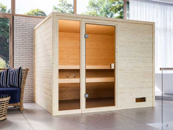 Sauna Kiana mit bronzierter Glastür + 9 kW Saunaofen integr. Strg.