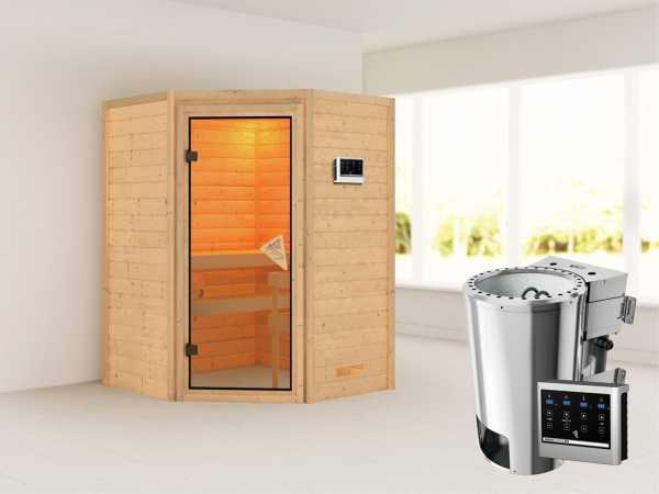Sauna Massivholzsauna Alicja mit Dachkranz, inkl. Plug & Play Saunaofen externe Steuerung