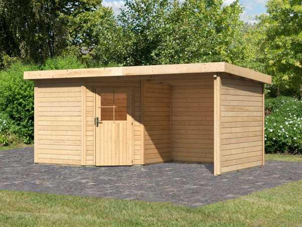 Gartenhaus SET Neuruppin 2 28 mm naturbelassen, inkl. 2,6 m Anbaudach + Seiten- und Rückwand