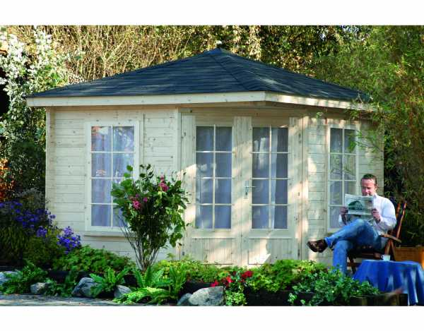 gartenhaus blockbohlenhaus sonja 40 40 mm naturbelassen wf0681. Black Bedroom Furniture Sets. Home Design Ideas