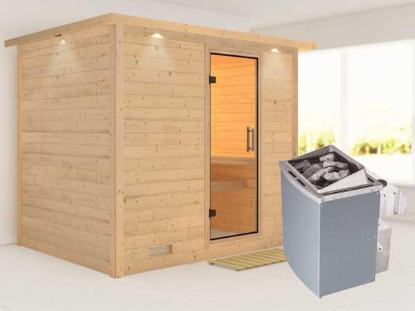 Sauna Massivholzsauna Sonara mit Dachkranz, Klarglas Ganzglastür + 9 kW Saunaofen mit Steuerung