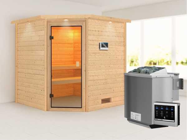 Sauna Massivholzsauna Nina mit Dachkranz, bronzierte Ganzglastür + 9 kW Bio-Kombiofen mit ext. Strg