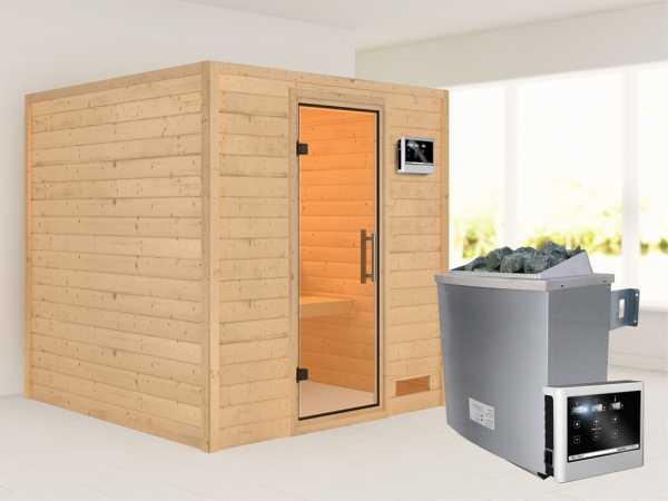 """Sauna Massivholzsauna """"Nora"""" Klarglas Ganzglastür + 9 kW Saunaofen mit ext. Strg"""