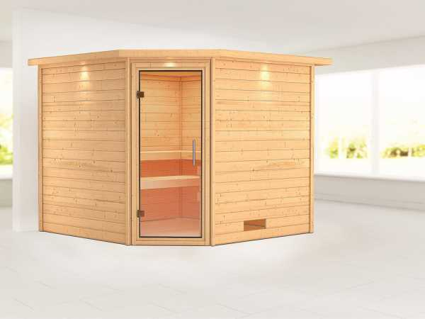 Sauna Massivholzsauna Leona mit Dachkranz, Klarglas Ganzglastür