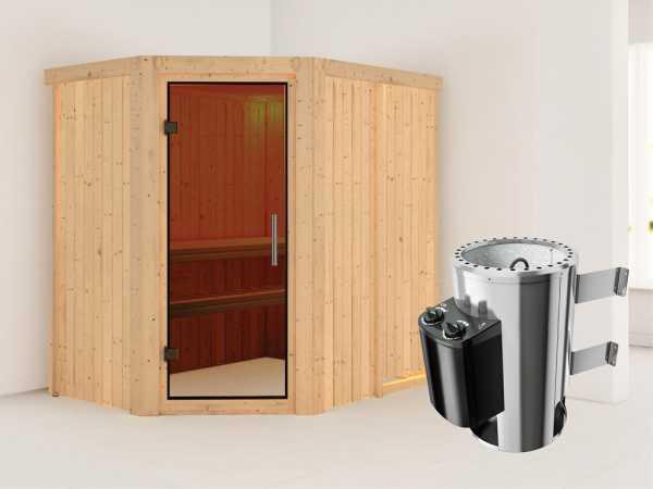 Sauna Systemsauna Saja graphit Ganzglastür + Plug & Play Saunaofen mit Steuerung