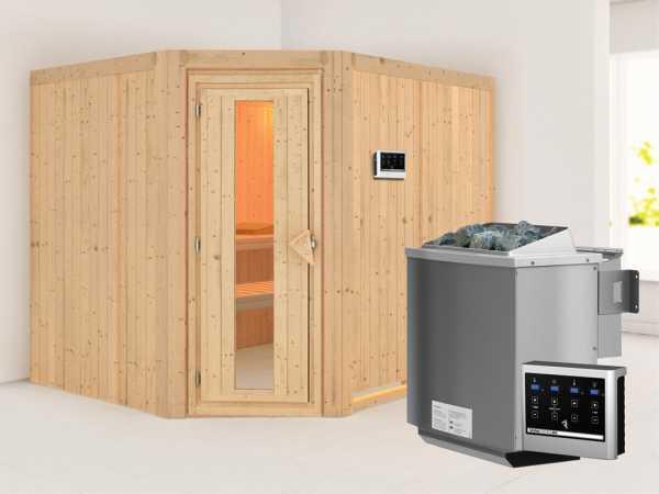 Systemsauna Malin Holztür mit Isolierglas, inkl. 9 kW Bio-Kombiofen ext. Steuerung