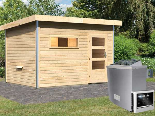 Saunahaus Skrollan 2 mit Klarglastür & Vorraum, inkl. 9 kW Saunaofen mit externer Steuerung