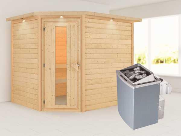 """Sauna """"Lisa"""" mit Energiespartür und Dachkranz + 9 kW Saunaofen integr. Strg."""