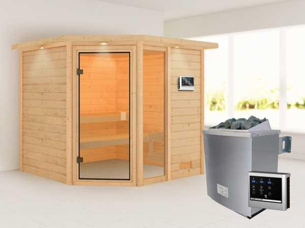 """Sauna """"Tabea"""" mit bronzierter Glastür und Dachkranz + 9 kW Saunaofen ext. Strg."""