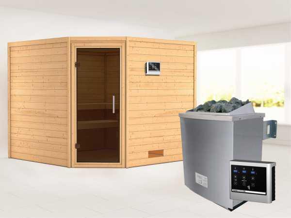 Sauna Massivholzsauna Leona graphit Ganzglastür + 9 kW Saunaofen mit ext. Strg