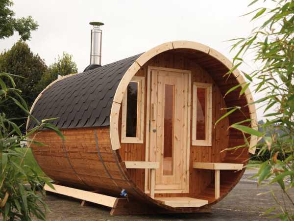 """Saunafass """"280 de luxe"""" 42 mm naturbelassen, als Bausatz, inkl. Dachschindeln schwarz"""