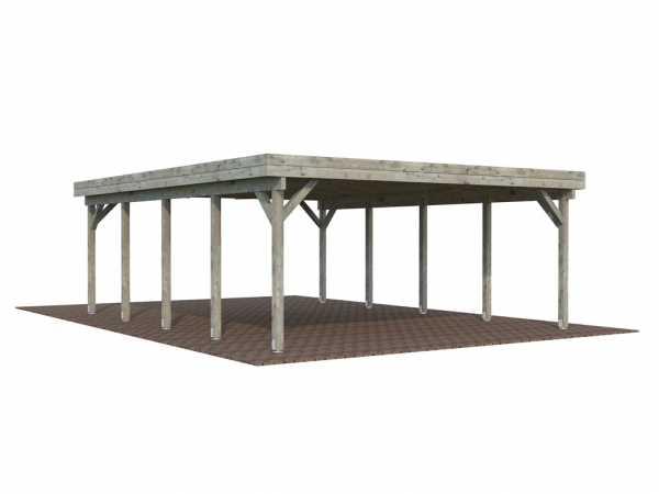 Carport Karl 40,6 m² grau tauchimprägniert