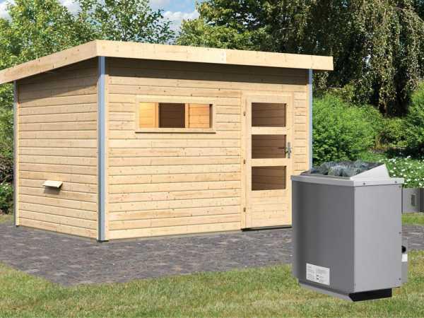 Saunahaus Skrollan 2 mit Klarglastür & Vorraum, inkl. 9 kW Saunaofen mit integrierter Steuerung