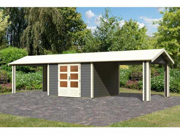 Gartenhaus SET Tastrup 7 28 mm terragrau inkl. 2 Dachausbauelemente