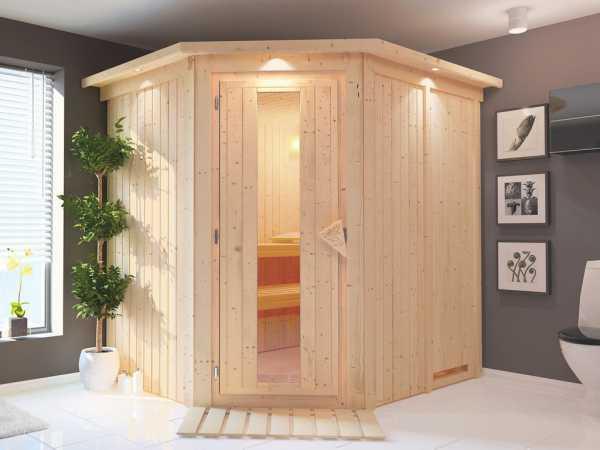 Systemsauna Siirin mit Dachkranz, Holztür mit Isolierglas