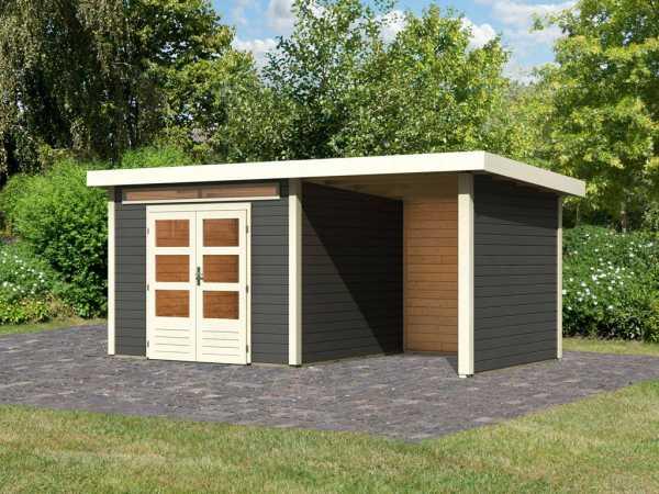 Gartenhaus SET Kandern 6 28 mm terragrau, inkl. 2,6 m Anbaudach + Seiten- und Rückwand